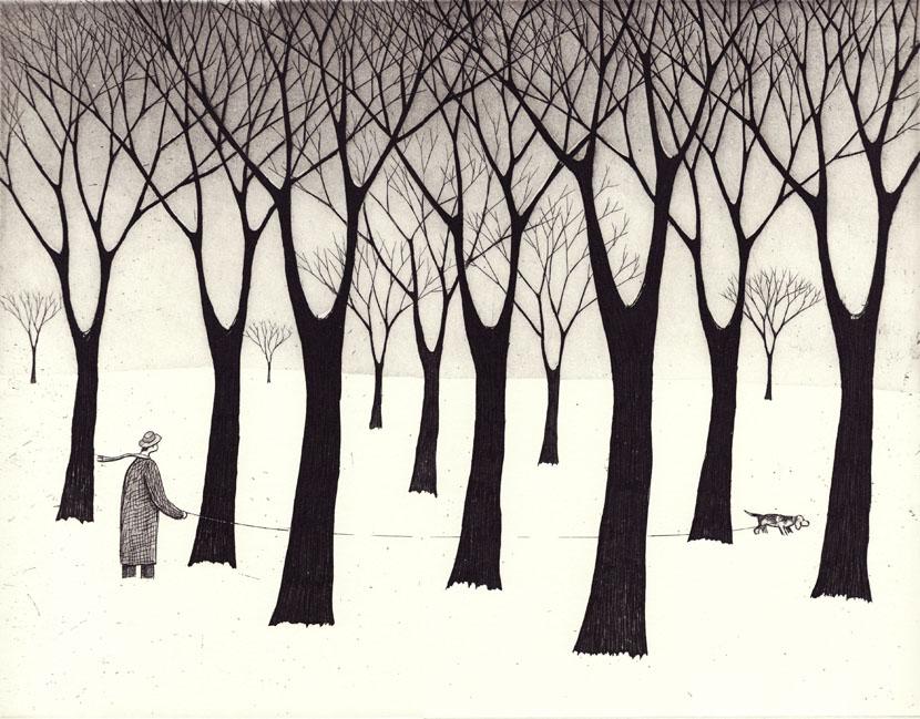 winterwalk _etching guido pigni acquaforte acquatinta